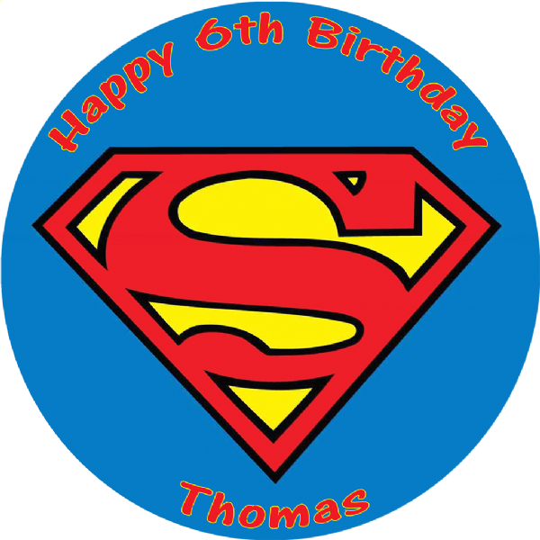 SUPERMAN LOGO PERSONALISED ROUND EDIBLE CAKE TOPPER